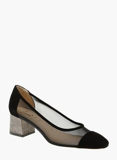 Divarese Hakiki Deri Kalın Topuklu Ayakkabı Siyah
